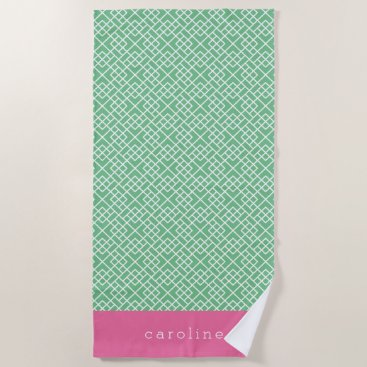 Beach Themed Pink & Green Bamboo Lattice Pattern | Personalized Beach Towel