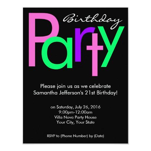 Pink, Green, Black Block Birthday Party Invitation