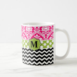 Pink Green Black Damask Chevron Monogram Classic White Coffee Mug
