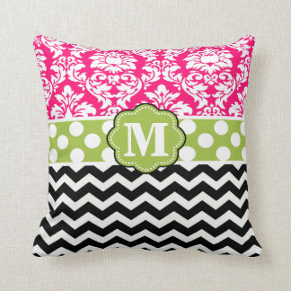 Pink Green Black Damask Chevron Monogram Pillow