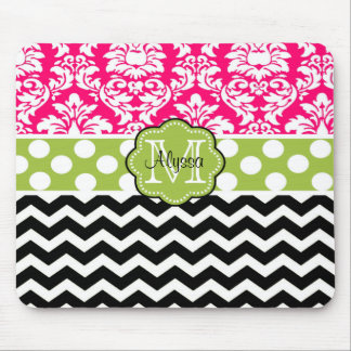 Pink Green Black Dots Damask Personalized Mousepad