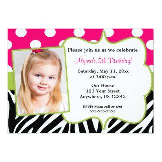 Pink Green Black Zebra Photo Invite