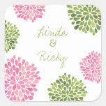 Pink & Green Bloom Burst Wedding Sticker Seal