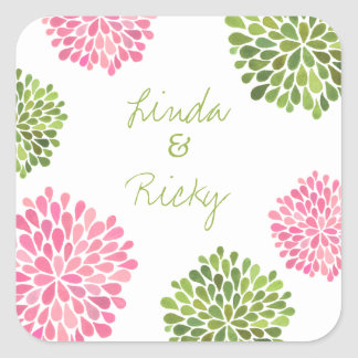 Pink & Green Bloom Burst Wedding Sticker Seal