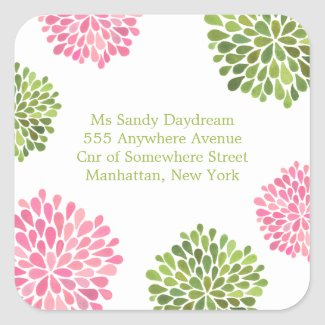 Pink & Green Blooms Address Wedding Seal Sticker