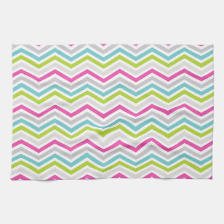 Pink, Green, Blue and White Chevron Stripes Hand Towel