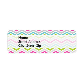 Pink, Green, Blue and White Chevron Stripes Return Address Label