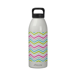 Pink, Green, Blue and White Chevron Stripes Water Bottles