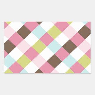 Pink Green Blue Brown Cross Hatch Rectangular Sticker