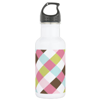 Pink Green Blue Brown Cross Hatch Stainless Steel Water Bottle