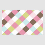 Pink Green Blue Brown Cross Hatch Rectangular Stickers