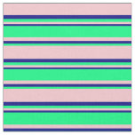 [ Thumbnail: Pink, Green & Blue Colored Lined/Striped Pattern Fabric ]