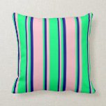 [ Thumbnail: Pink, Green & Blue Colored Lined/Striped Pattern Throw Pillow ]