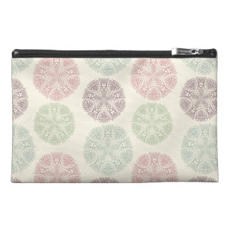 Pink green blue pastel color mandala pattern travel accessory bag