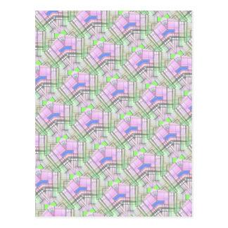 pink green blue  pattern pastel color postcard