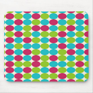 Pink, Green Blue Polka Dots Background Mouse Pad