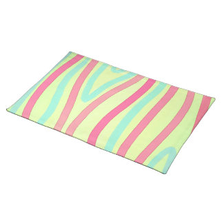 Pink Green Blue Stripes Placemat