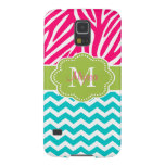 Pink Green Blue Zebra Chevron Personalized Galaxy S5 Case