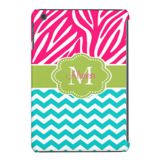 Pink Green Blue Zebra Chevron Personalized iPad Mini Cases