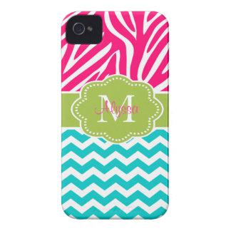 Pink Green Blue Zebra Chevron Personalized Case-Mate iPhone 4 Case
