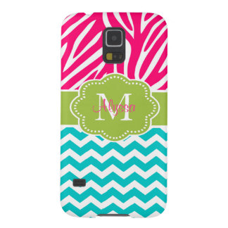Pink Green Blue Zebra Chevron Personalized Galaxy S5 Cover