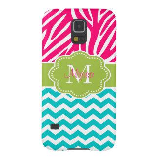 Pink Green Blue Zebra Chevron Personalized Galaxy S5 Cover
