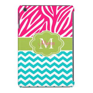 Pink Green Blue Zebra Chevron Personalized iPad Mini Case