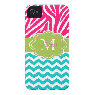 Pink Green Blue Zebra Chevron Personalized iPhone 4 Case