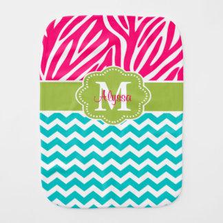 Pink Green Blue Zebra Personalized Burp Cloth