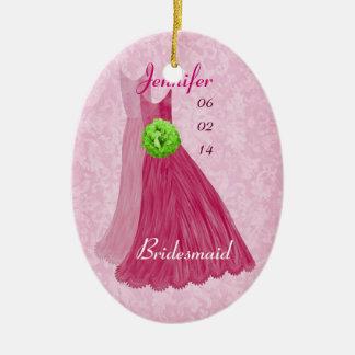 PINK GREEN Bridesmaid Thank You Wedding Ornament