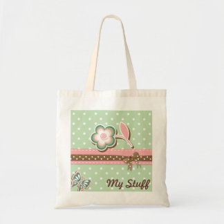 Pink, Green & Brown Floral Dots Totes & Bags