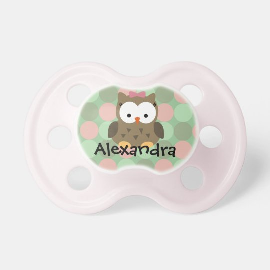 Pink/Green/Brown Owl, Personalized Girls Pacifier