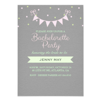Pink & Green Bunting Bachelorette Party Invitation