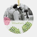 Pink Green Bursts Wedding Love Photo Ornament