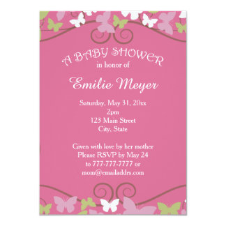 Pink Green Butterflies Baby Shower Invitation
