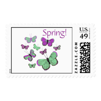 Pink & Green butterflies, spring postage stamps
