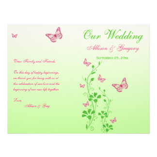 Pink, Green Butterfly Floral Wedding Program