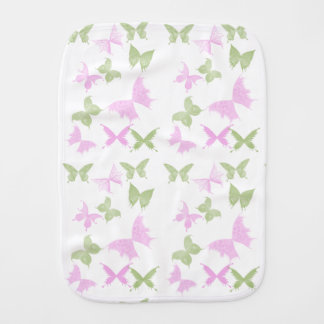 Pink Green Butterfly Girls Baby Burp Cloth