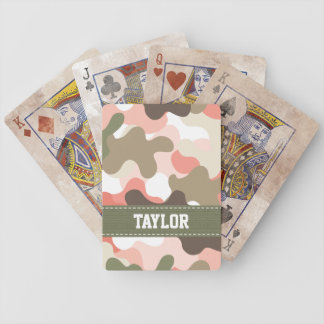 Pink Green Camo Camouflage Bicycle® Playing Cards