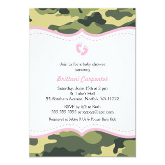 Pink & Green Camo Girl Baby Shower Invitation feet