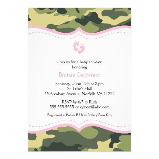 Pink & Green Camo Girl Baby Shower Invitation feet