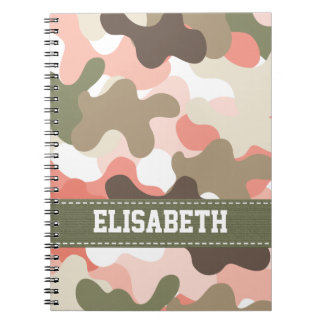 Pink Green Camouflage Camo Spiral Notebook Journal