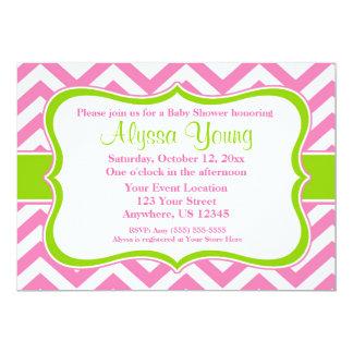 Pink Green Chevron Invitation