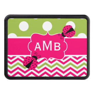 Pink Green Chevron Ladybug Monogram Hitch Cover