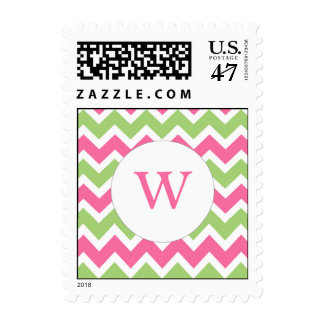 Pink Green Chevron Monogram wedding stamps