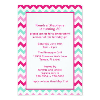 Pink & Green Chevron  Party Invitations