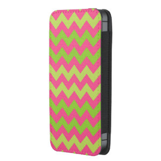 Pink green chevron pattern iphone pouch