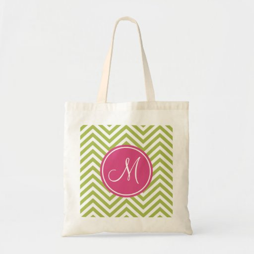 Pink & Green Chevron Pattern with Monogram Tote Bags