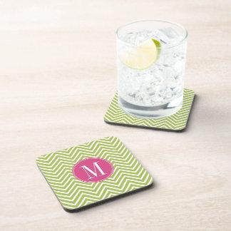 Pink & Green Chevron Pattern with Monogram Beverage Coaster