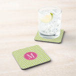 Pink & Green Chevron Pattern with Monogram Drink Coasters